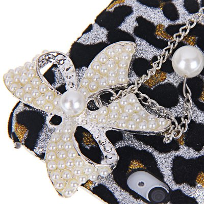 Fashion Butterfly and Leopard Design Artificial Pearl Plastic Hard Shell Case for iPhone 4 / 4S