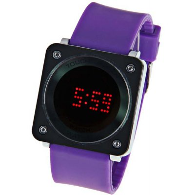 Touch Screen Red LED Sport Watcn with Square Dial and Rubber Band