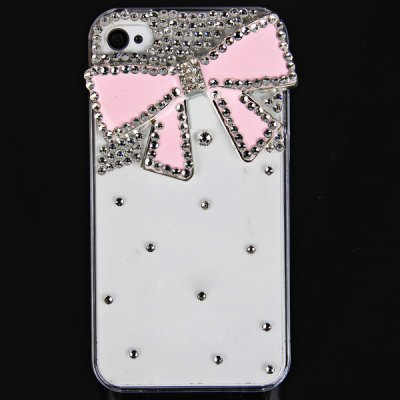 Cool 3D Design Rhinestones Clear Protective Plastic Hard Shell Case for iPhone 4 / 4S  -  Bowknot