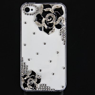 Hawthorn Flower Diamonds Plastic Clear Case for iPhone 4 / 4S