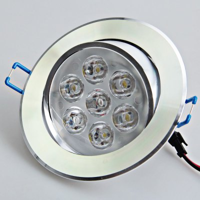 High Brightness AC180V-240V 7W LED White Light Glass LED Ceiling Lamp (Silver, 30-60 Degree)