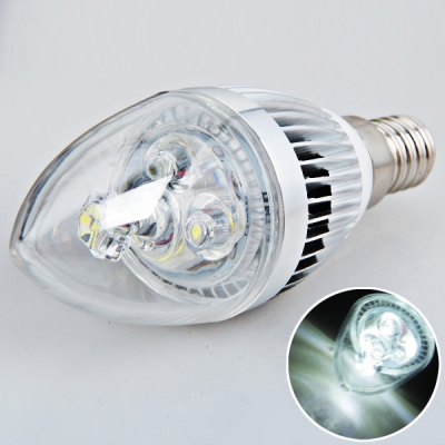 E14 3W AC180V - 240V White Candle Ball Bulb