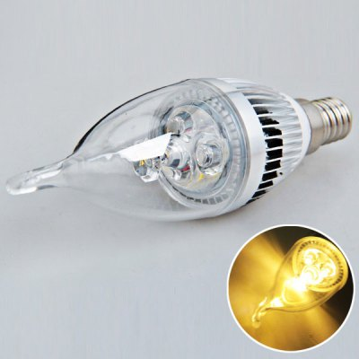 E14 3W AC180 - 240V Long Tail Warm White Candle Ball Bulb  -  Silver