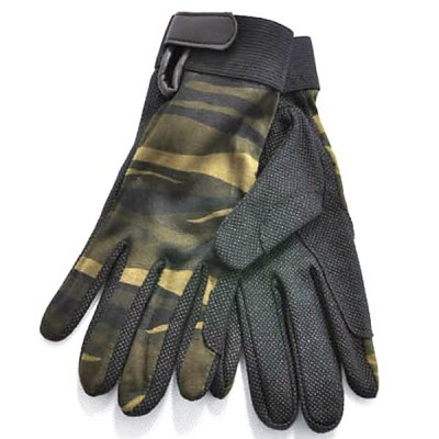 L Size Unisex Outdoor Non-slip Riding Gloves Breathable Climbing Gloves for Summer Outdoor Activity - Green Camouflage