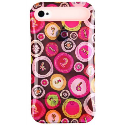 i - Glow New Style Silicone and Polycarbonate Back Case Cover for iPhone 4 / 4S  -  Numberal Pattern