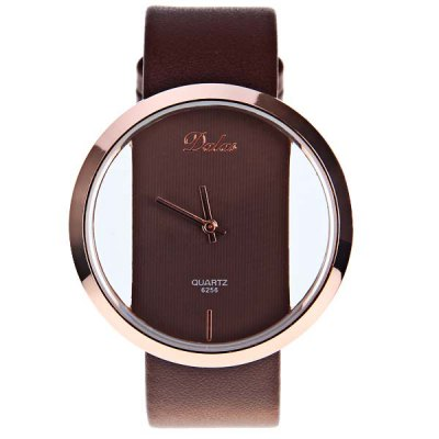 Dalas Quartz Watch with Hollow-out Dial Leather Watchband for Women (Black)Womens Watches<br>Dalas Quartz Watch with Hollow-out Dial Leather Watchband for Women (Black)<br>