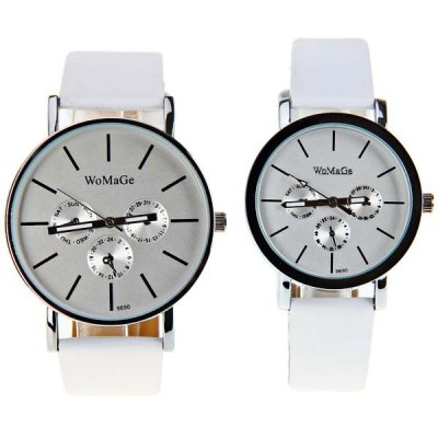 WoMaGe Couple's Watch Time Showed by Strips and Leather Watchband