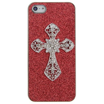 Shining Powder on Electroplated Plastic with Cross Artificial Diamonds Case for iPhone 5