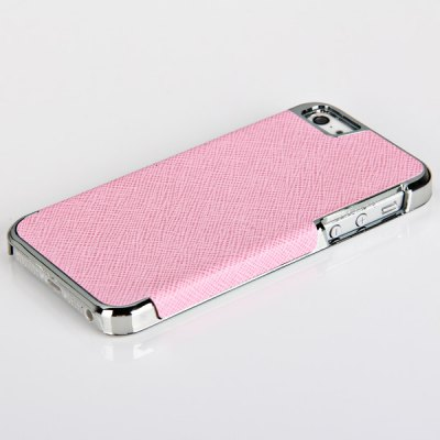 ФОТО Beautiful Toothpick Texture Pattern Electroplating Artificial Leather and Plastic Hard Shell Case for iPhone 5