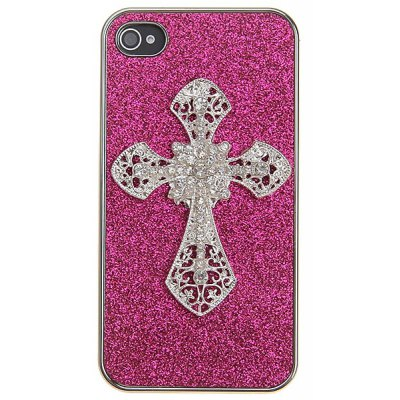 Unique Shimmering Powder Style Electroplating with Artificial Diamonds in Cross Shape Protective Plastic Cover Case for iPhone 4 / 4S - Plum