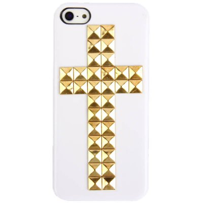 Cool Cross Rivets Studs Hard Plastic Case Cover for iPhone 5 - White