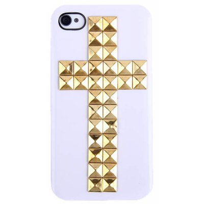 Cool Cross Rivets Studs Hard Plastic Case Cover for iPhone 4 / 4S - White