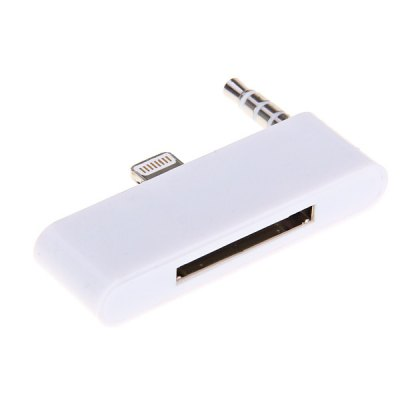 8Pin to 30Pin + Audio Adapter Converter for iPhone 5 / iPod Touch 5 - White