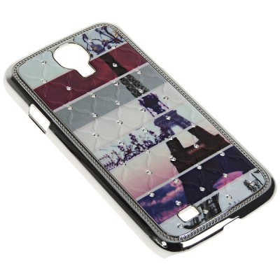 Tower and Stripe Pattern Electroplating Rhinestone Plastic Hard Shell Case for Samsung Galaxy S4 i9500 / i9505