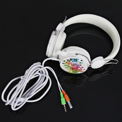 YL-MV7 Small Block Pattern Stereo Super Bass On-Ear Headphone with MIC/PC (White)