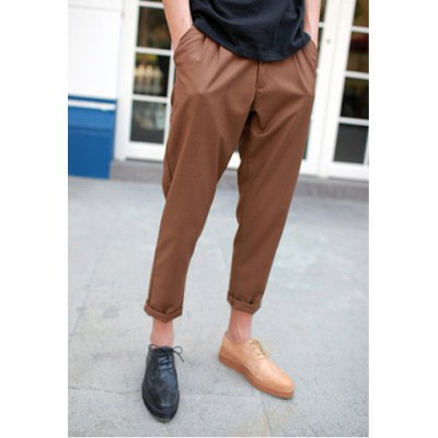 Fashion Style Solid Color Fold Design Polyester Men' s Nine Minutes Pants