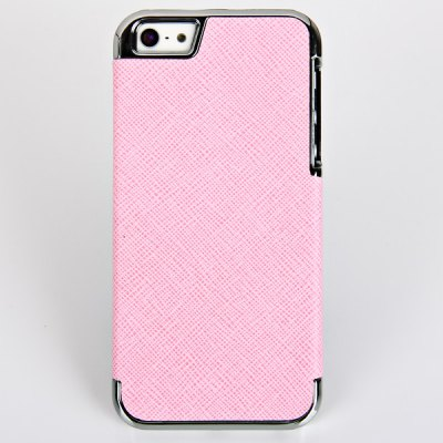 Beautiful Toothpick Texture Pattern Electroplating Artificial Leather and Plastic Hard Shell Case for iPhone 5
