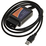 Highly Reliable ELM327 USB Diagnostic Cable for Various Cars - Black