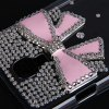 Buy Plastic Clear Case Rhinestones 3D Pink Bowknot Design Samsung Galaxy S4 i9500 / i9505 - PINK