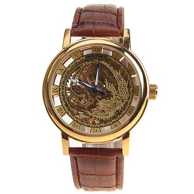 Luckfamily Mens Mechanical Watch with Round Dial and Leather WatchbandMechanical Watches<br>Luckfamily Mens Mechanical Watch with Round Dial and Leather Watchband<br><br>Watches categories: Male table<br>Watch style: Hollow-out<br>Style elements: Hollow out<br>Available color: Gold<br>Movement type: Mechanical watch<br>Shape of the dial: Round<br>Display type: Pointer<br>Case material: Metal<br>Case color: Gold<br>Band material: Leather<br>Clasp type: Buckle<br>Band color: Brown<br>Special features: Three needles<br>The dial thickness: 0.8 cm<br>The dial diameter: 4.1 cm<br>Product weight: 0.05 kg<br>Package weight: 0.1 kg<br>Product size (L x W x H): 24 x 4.1 x 0.8 cm<br>Package size (L x W x H): 25 x 5.1 x 1.8 cm<br>Package Contents: 1 x Watch