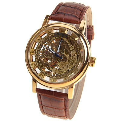 Luckfamily Men's Mechanical Watch with Round Dial and Leather Watchband