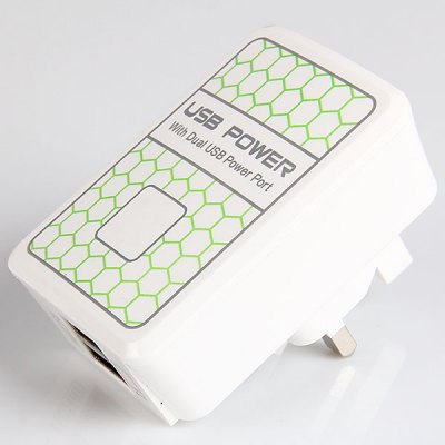 Brand New Double USB Power Ports USB Power Adapter for Various Phones and Tablets via USB Cable - White