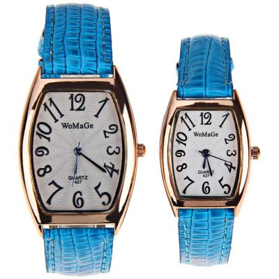 WoMaGe Cheap Couple Watch with Quadrilateral Dial and Leather BandWatches &amp; Jewelry<br>WoMaGe Cheap Couple Watch with Quadrilateral Dial and Leather Band<br><br>Watches categories: Couple tables<br>Watch style: Fashion<br>Color: Blue<br>Movement type: Quartz watch<br>Display type: Pointer<br>Case material: Stainless steel<br>Band material: Leather<br>Clasp type: Pin buckle<br>Special features: Three needle<br>Package weight: 0.098 kg<br>Package size (L x W x H): 25.2 x 5.2 x 2.8 cm<br>The male dial dimension (L x W x H): 4.8 x 3.2 x 0.9 cm<br>The male watch band dimension (L x W): 24.2 x 1.6 cm<br>The male watch weight: 0.03 kg<br>The male watch size (L x W x H): 24.2 x 3.2 x 0.9 cm<br>The female dial dimension (L x W x H): 3.3 x 2.5 x 0.8 cm<br>The female watch band dimension (L x W): 24.2 x 1.6 cm<br>The female watch weight: 0.018 kg<br>The female size (L x W x H): 24.2 x 3.2 x 0.9 cm<br>Package contents: 2 x Watch