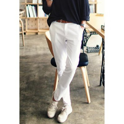 Refreshing Solid Color Polyester Pants