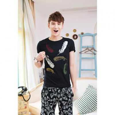 Feather Print Personality Short Sleeve Round Collar Polyester T-Shirt For Men