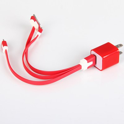 ФОТО Portable USB Power Charger + 3 - in - 1 USB Charging / Sync Noodle Cable for iPhone 5 / 4 / 4S , Samsung , etc