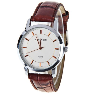 LaoGeShi Cheap Watch with Round Dial and Leather Band for Unisex