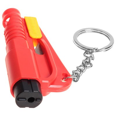 Mini Keychain Design Rescue Tool with Window Break, Seat Belt Cutter and Sos Whistle Feature (Red)