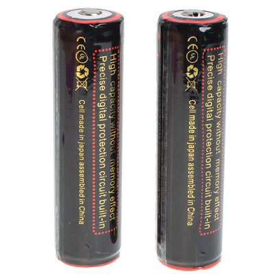 TangsFire 18650 3.7V 3100mAh Li-ion Rechargeable Battery - 2-Pack, Black, with Protection Board