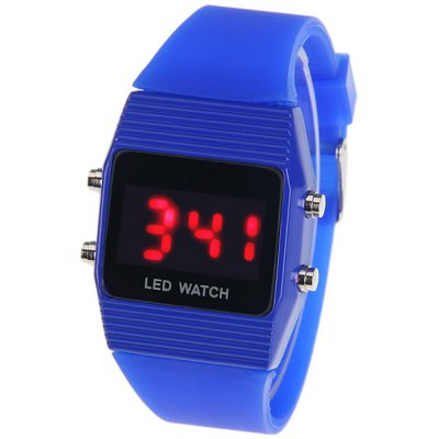 Waterproof Rubber Band Red LED Sport Watches with Rectangle Shape Dial