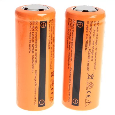 Гаджет   TangsFire 26650 3.7V 6300mAh Flat Li-ion Rechargeable Battery - 2-Pack, Orange, without Protection Board Batteries