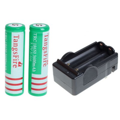 TangsFire 18650 3.7V 3600mAh Li-ion Rechargeable Battery with Charger - 2-Pack