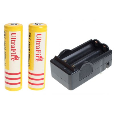 UltraFire 18650 3.7V 5000mAh Li-ion Rechargeable Battery with Charger - 2-Pack