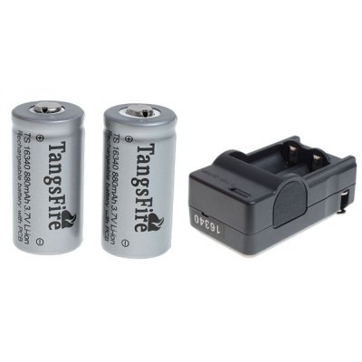 TangsFire 16340 Rechargeable Battery 3.7V 880mAh Li - ion with Charger