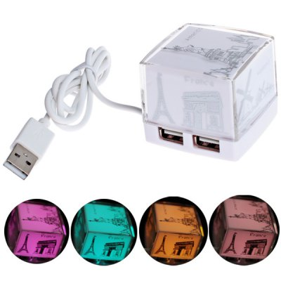 Fashion Cube Design USB Hub with 4 Standard USB 2.0 Interfaces - White