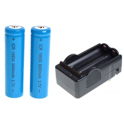 ICR 18650 3.7V 5000mAh Li-ion Rechargeable Battery with Charger - 2-Pack, Blue, without Protection Board
