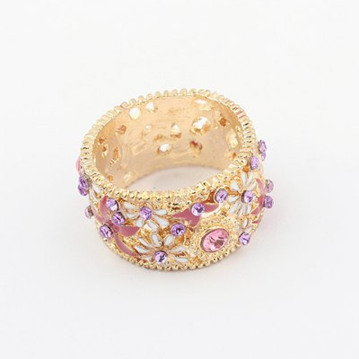 Delicate Gorgeous Rhinestoned Flower Pattern Decorated Women's Alloy Ring