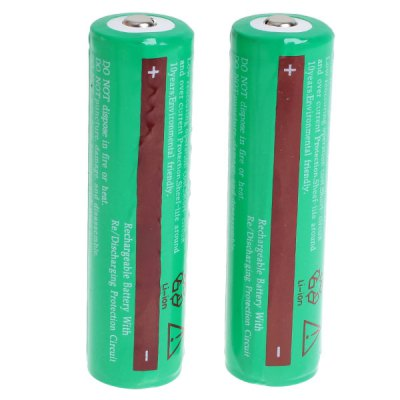 TangsFire 18650 3.7V 3600mAh Li-ion Rechargeable Battery with Charger - 2-Pack, Green, with Protection Board