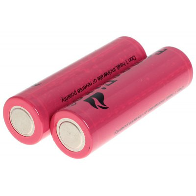 TangsFire 18650 3.7V 2800mAh Li-ion Rechargeable Battery with Charger - 2-Pack, Red, without Protection Board