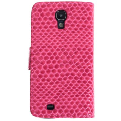 New Arrival Snake Grain PU Leather and Plastic Flip Wallet Case with Stand for Samsung Galaxy S4 i9500 / i9505 - Rose Red