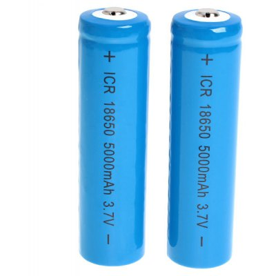 ICR 18650 3.7V 5000mAh Li-ion Rechargeable Battery - 2-Pack
