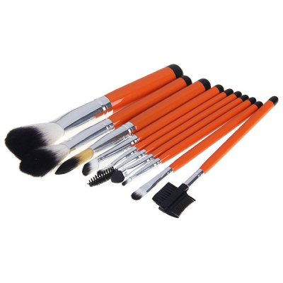 Fashion 10PCS Super Soft Make-up Brushes Cosmetic Tool with Alligator Grain Cosmetic Bag - Black
