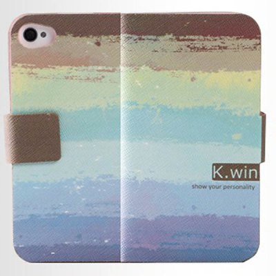 K.win Fashion Flip Wallet Style PC + PU Leather Colorful Case with Card Holder for iPhone 4 / 4S