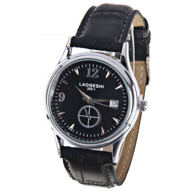 LaoGeShi Luxury Watches with Calendar One Small Decorating Hand Round Dial and Leather Band