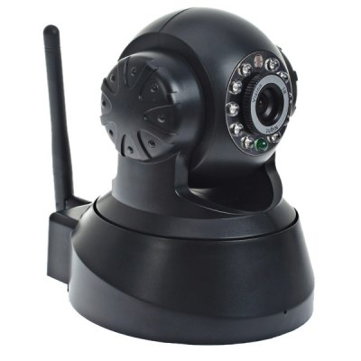 ESN-0510 1/4 CMOS Sensor 300,000 Pixel 3.6mm 10 IR LEDs Wireless IP Camera Cam with Night Vision Function with P2P Technology - Black