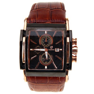 Гаджет   Luxury Watches with Calendar Three Small Decorating Hands and Leather Band Men
